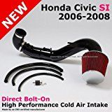 Deals week 2006 to 2008 Honda Civic Si 2.0l 06-08 Cold Air Black Aluminum Induction Intake Filter System sale