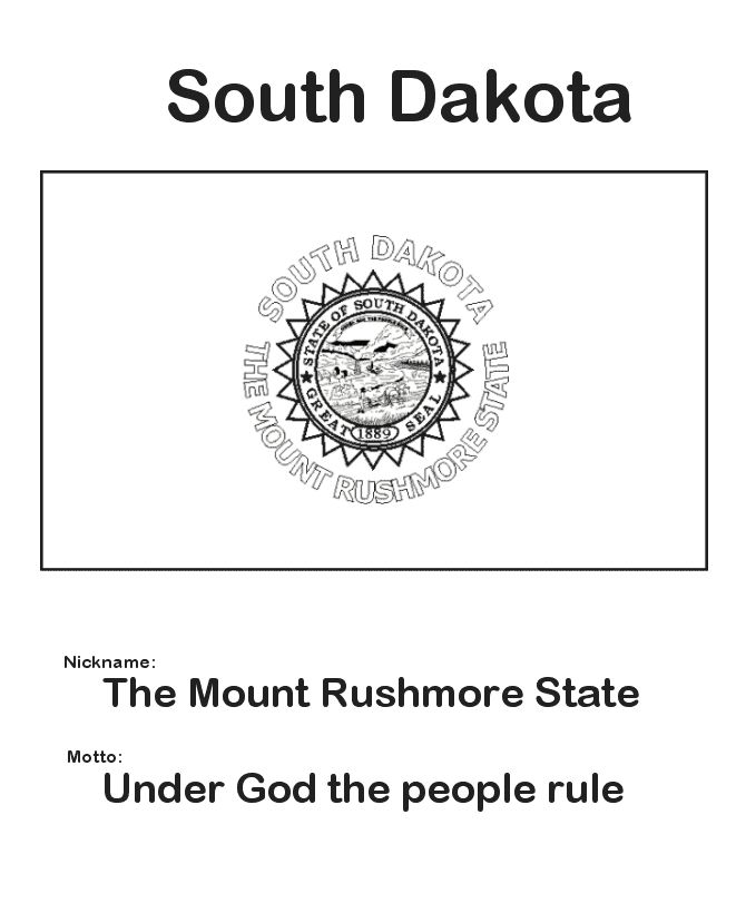 South Dakota State Flag Coloring Page SouthDakota