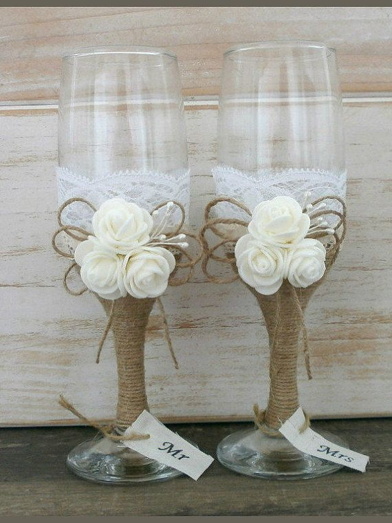 Rustic Wedding Glasses Champagne Flutes Burlap by HappyWeddingArt