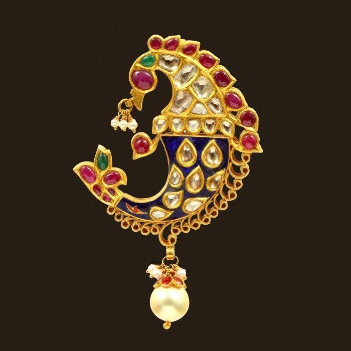 Kundan Peacock Pendant (VBJ-OW-GP-09)   Vummidi Bangaru Jewellers