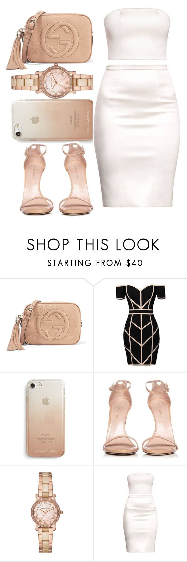""" I want you stay ..... "" by glitterymula ❤ liked on Polyvore featuring Gucci, Command, Rebecca Minkoff, Stuart Weitzman and Michael Kors"