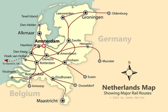 A map of the Netherlands showing the best cities to visit and the rail lines that connect them for vacation planning in Holland.