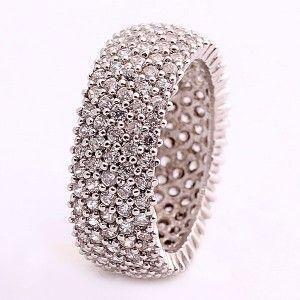 925 ayar, komple taşlı, gümüş bayan yüzüğü