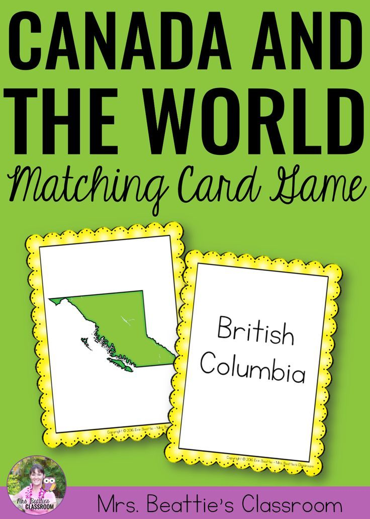 Your students will enjoy learning to recognize Canada and Canadian provinces and territories in this fun matching card game. Play Go Fish style or in a memory game format. Perfect for early finishers!