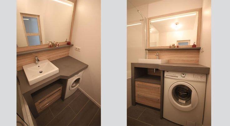 Meuble en b ton cir fonctionnel et pratique meuble for Meuble salle de bain lave linge integre