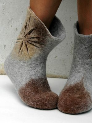 Hand felted women boots