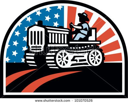 Illustration of a farmer plowing the field with his vintage tractor done in retro style with American stars and stripes flag. #farmer #laborday #retro #illustration