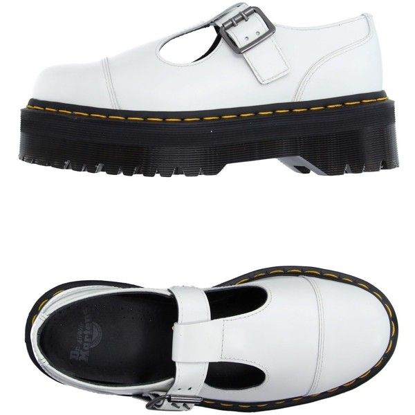 Dr. Martens Moccasins (£100) ❤ liked on Polyvore featuring shoes, loafers, flats, white, dr martens shoes, white moccasins, wedge flats, white flats and leather shoes