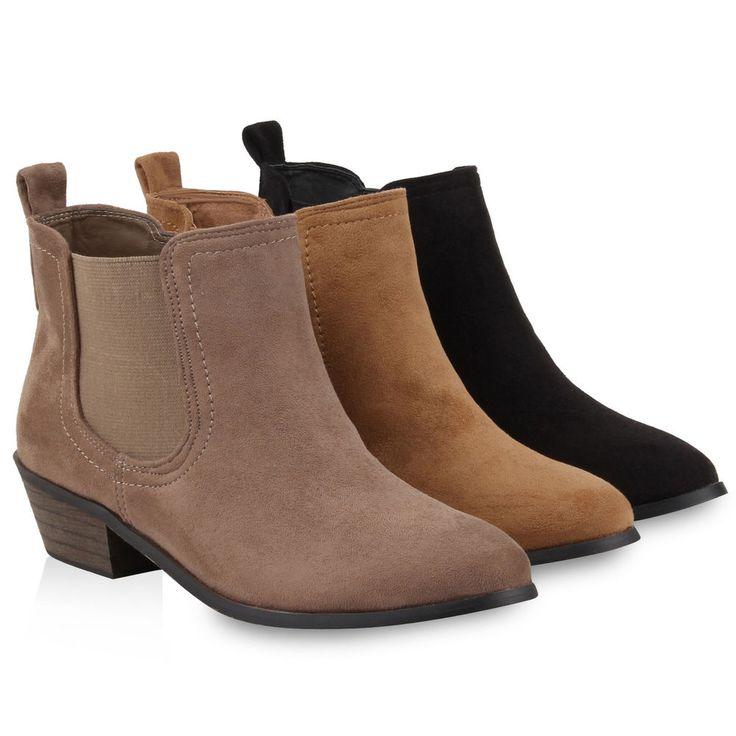 Damen Stiefeletten Blockabsatz Chelsea Ankle Boots 77882 in Kleidung & Accessoires, Damenschuhe, Stiefel & Stiefeletten | eBay