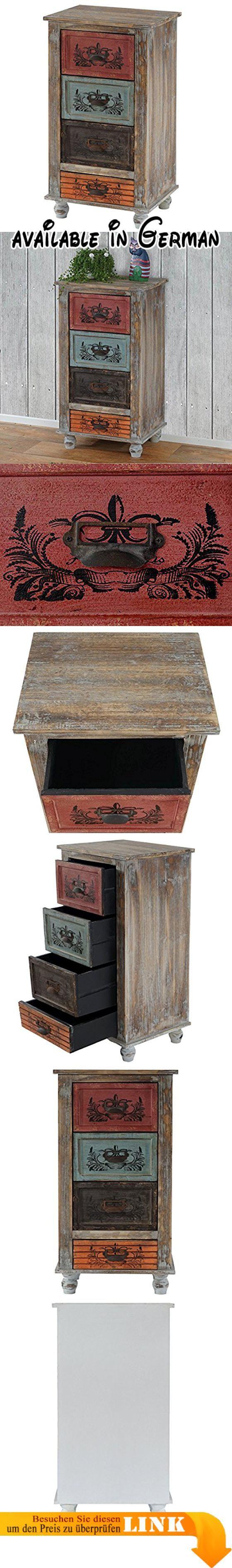 B00P82SELW : Kommode Vigo Schubladenkommode Schrank Shabby-Look Vintage 79x43x33cm. Kommode mit 3x große und 1x kleine Schublade. Komplett fertig montiert. Verschiedene Stempelmotive. Schubladengriffe im Rost-Look. Schubladen aus MDF