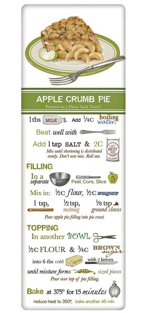Old-Fashioned Dutch Apple Crumb Pie Recipe 100% Cotton Flour Sack Dish Towel Tea…