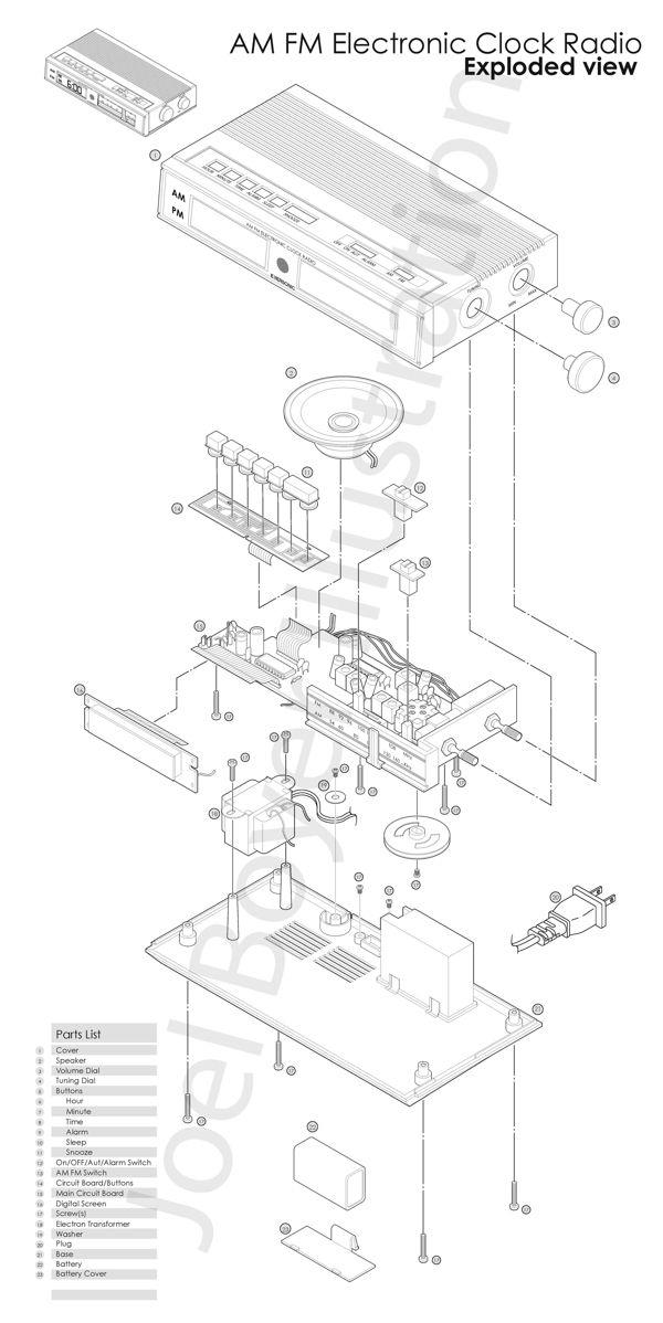 www.JoelCBoyer.com  Illustration Exploded view drawing Alarm Clock Radio AM FM Drawing Technical