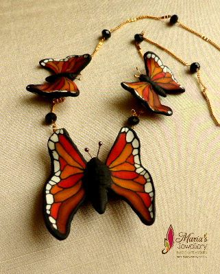 Butterfly trio with polymer clay