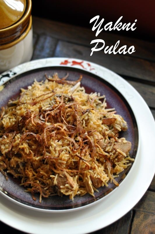 Yakhni Pulao from Lucknow and Awadh area is a one pot dish of mutton and rice cooked together and delicately spiced true to its nawabi origin.
