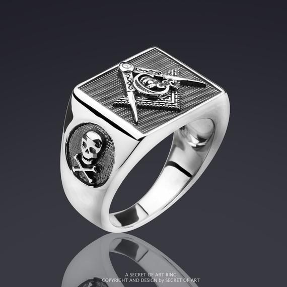 Men Masonic Ring Silver 925 Sterling Freemason Skull Compass