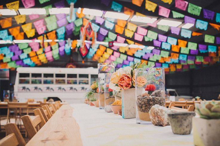 papel picado reception at this marfa, texas wedding with a hint of mexican flair