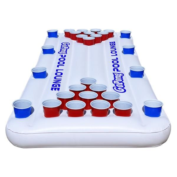6ft Floating Beer Pong Table with Cup Holders for Social Floating Full 10 Cup Beer Pong on Each Side 3 Features in 1: Pool Pong, Social Floating and Floating Lo
