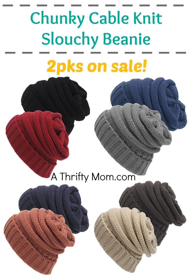 these look warm and fashionable too. chunky-cable-knit-slouchy-beanie-2-pks-on-sale