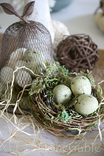 Bridal Shower RecipesEaster Dinner, Easter Centerpieces, Shower Tablescapes, Birds Nests, Easter Decor, Easter Eggs, Wedding Centerpieces, Bridal Shower Recipe, Bridal Showers