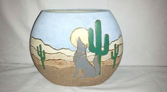 Vintage Southwestern Vase,Cactus,Coyote,Desert Scene,Pottery Vase,Southwestern Vase,Pottery Art,Coyote Vase,Cactus Vase,Pillow Vase by JunkYardBlonde on Etsy