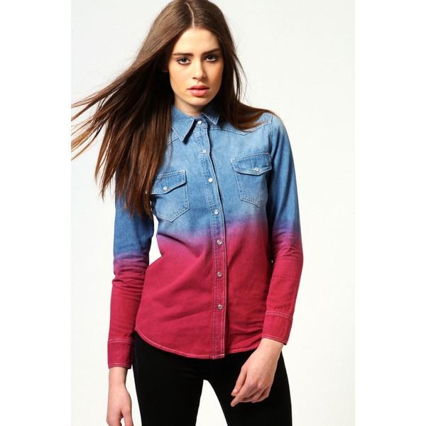 Nina Purple Ombre Denim Shirt ($44) ❤ liked on Polyvore