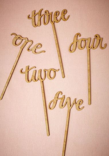 """Pretty lowercase cursive is lasercut from cherry wood, for a novel take on table décor. From Alexis Mattox Sold individually in numbers 1-20 9.5""""H, 5""""-9""""W Eco-friendly cherry wood"""
