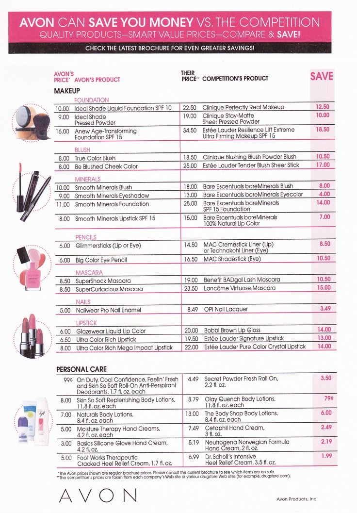 Compare prices between Avon and others. Avon will save you money.