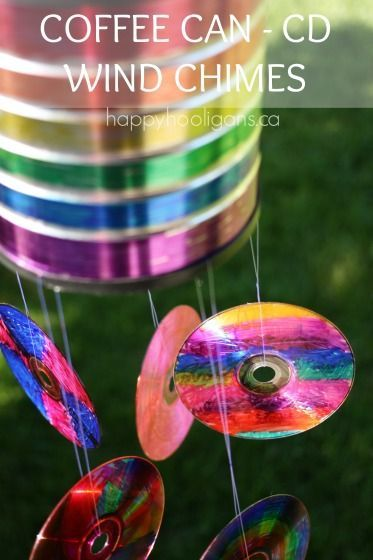 Coffee Can CD Wind Chime. It looks great in the yard, and it's a fun gift for someone who loves music AND coffee.  Hello, Father's Day!  http://happyhooligans.ca/birthday-party-activity/