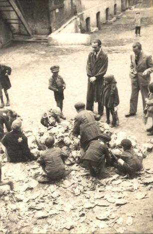 Lodz, Poland, Jews, kids, gathering vegetables in the ghetto.