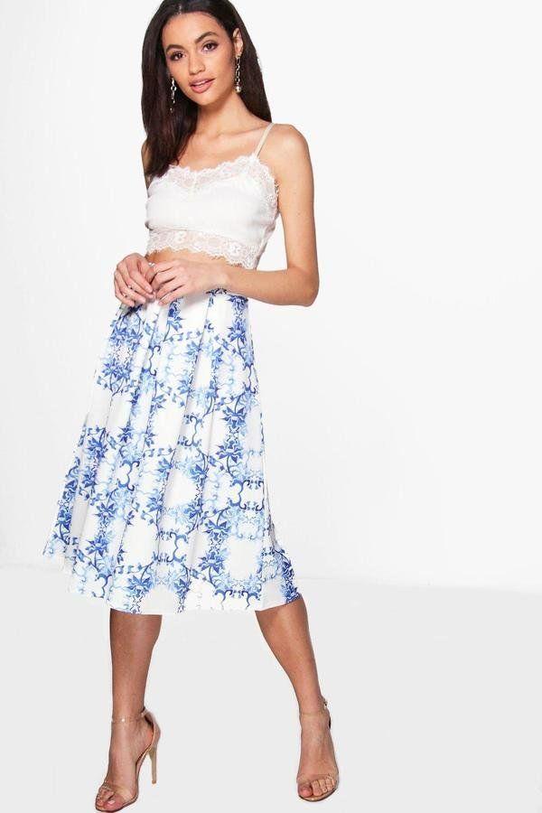 MSGM Floral Print Skirt | Queen Rania's Blue Floral Skirt | POPSUGAR Fashion Photo 2