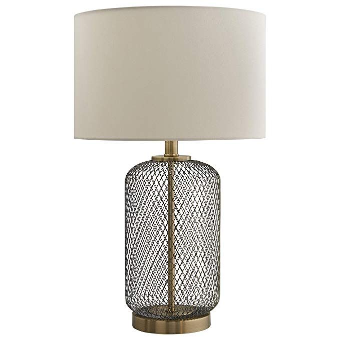 Amazon Com Stone Beam Modern Mesh Table Lamp 19 H Antique Brass With Linen Shade Home Improvement Table Lamp Table Lamps Living Room Lamp