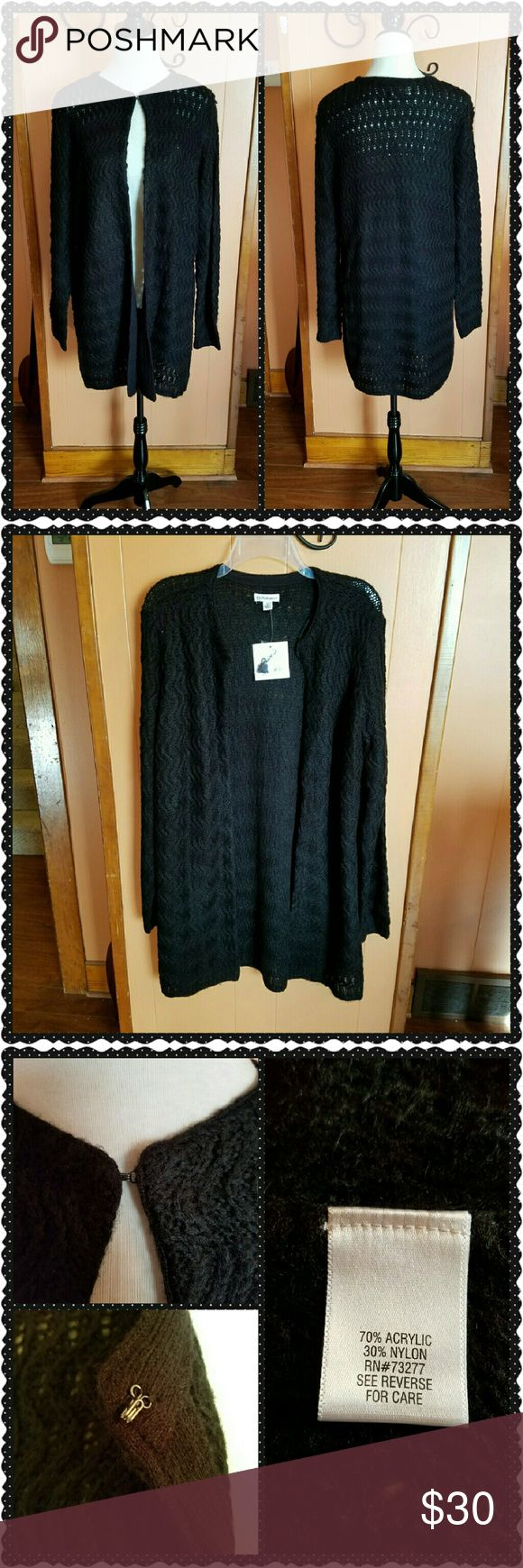 Long open cardigan sweater This long black sweater is very soft and warm. Machine washable. The length from shoulder to hem is approximately 35 inches long. There is a single hook closure at the neckline. croft & barrow Sweaters Cardigans