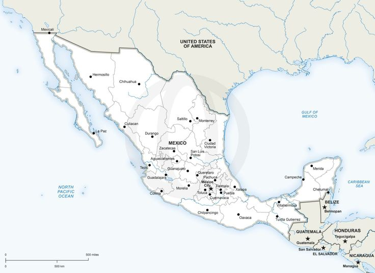 map of mexico printable and editable download political vector maps
