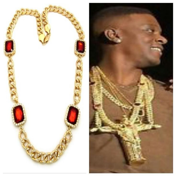 ICED OUT RUBY GOLD MIAMI CUBAN LINK CHAIN NECKLACE HIPHOP RICH GANG LIL BOOSIE #Chain