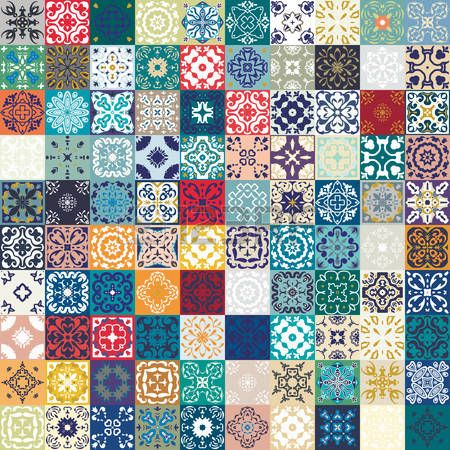 azulejos azules: patrón de mosaico sin fisuras de Mega magnífico coloridos…