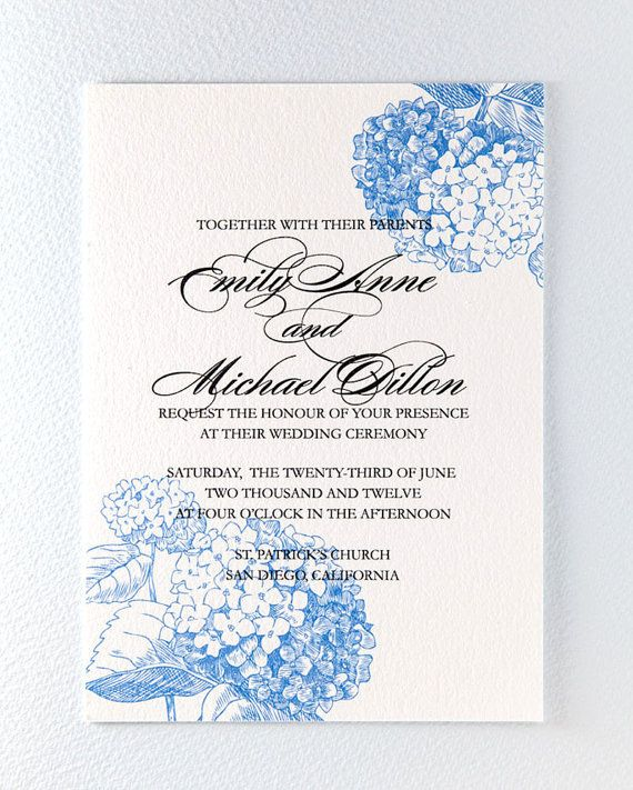Blue Hydrangea Wedding Invitation Suite by encrestudio on Etsy, $3.50