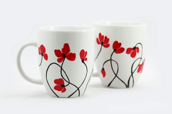Poppies Hand Painted Ceramic Mugs by SylwiaGlassArt