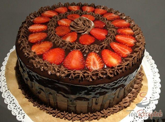 Csokoládés-epres torta