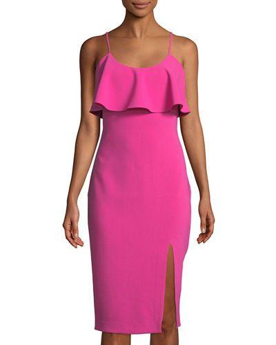 Dionne Sleeveless Scoop-Neck Midi Cocktail Dress