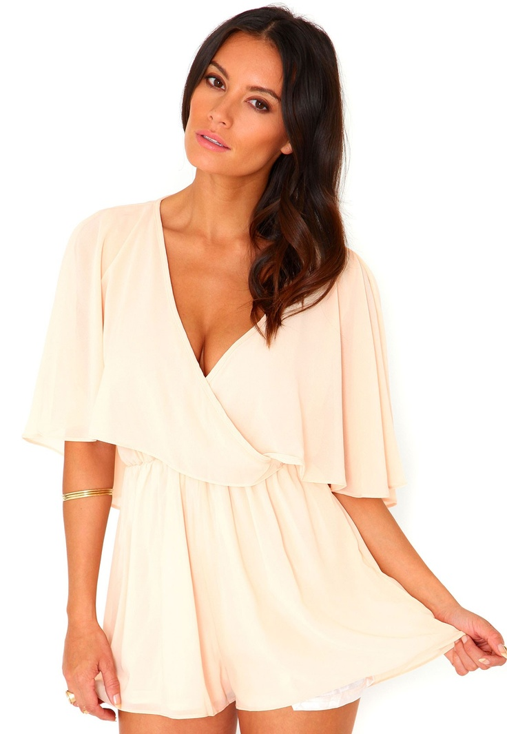 Milah Cross Over Chiffon Frill Playsuit In Peach