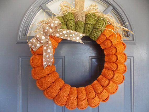 Pumpkin Wreath Burlap Wreath Fall Wreath Thanksgiving