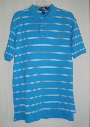 POLO-RALPH-LAUREN-Turquoise-Striped-Cotton-Short-Sleeve-Mens-Polo-Shirt-Size-L