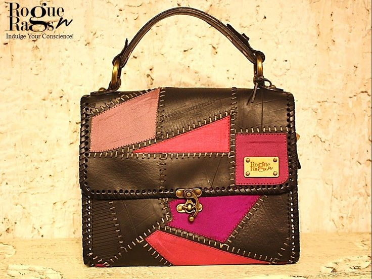 A handcrafted and singular creation ~ Scintilla n Florins, from The House of Rogue 'N' Rags.  #roguenrags #fashion #bags #handcrafted #black #pink
