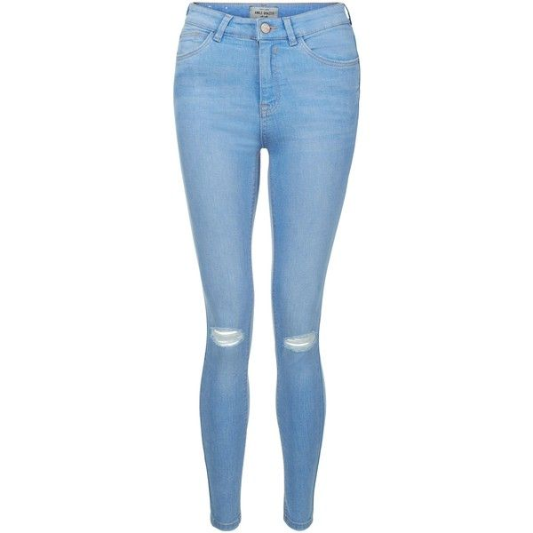 New Look Light Blue Ripped Knee Skinny Jeans (295 NOK) ❤ liked on Polyvore featuring jeans, pants, kingfisher blue, destroyed jeans, ripped skinny jeans, ripped jeans, denim skinny jeans and blue skinny jeans
