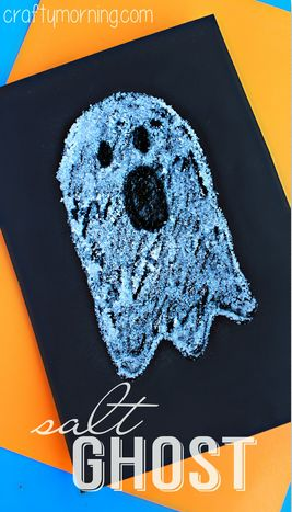 Easy Salt Ghost Craft for Halloween #Halloween craft for kids | CraftyMorning.com