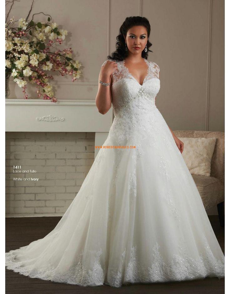 Robe de mariée grande taille en tulle dentelle applique col en v femme princesse
