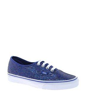 Love Love Love <3 Vans Authentic Blue Glitter Trainers