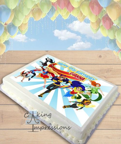 DC Superhero Girls Edible Image Cake Topper SHEET