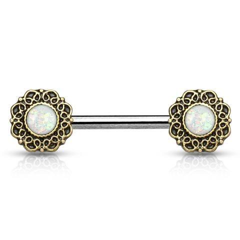 White Opal Glitter Tribal Heart Filigree Nipple Rings  Surgical Steel Nipple Barbells - BodyDazzle