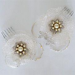 Paris Bridal Hair Accessories by Debra Moreland. Silent Movie silver bridal hair ornaments & combs, unique, vintage, bohemian glamour.